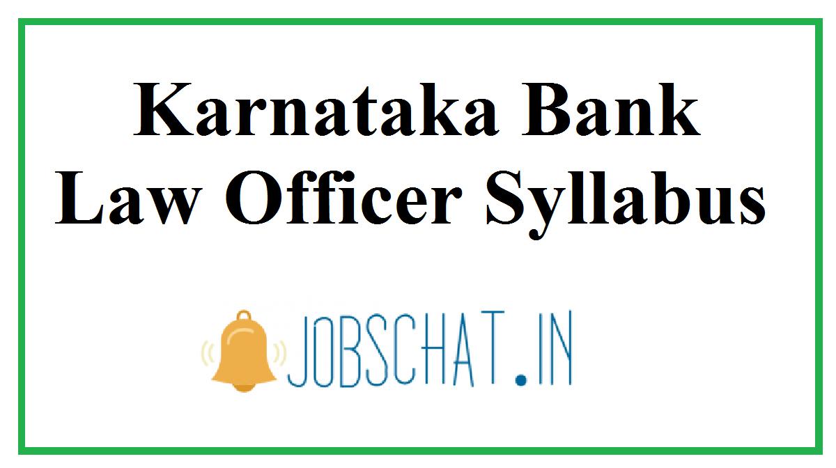 Karnataka Bank Law Officer Syllabus