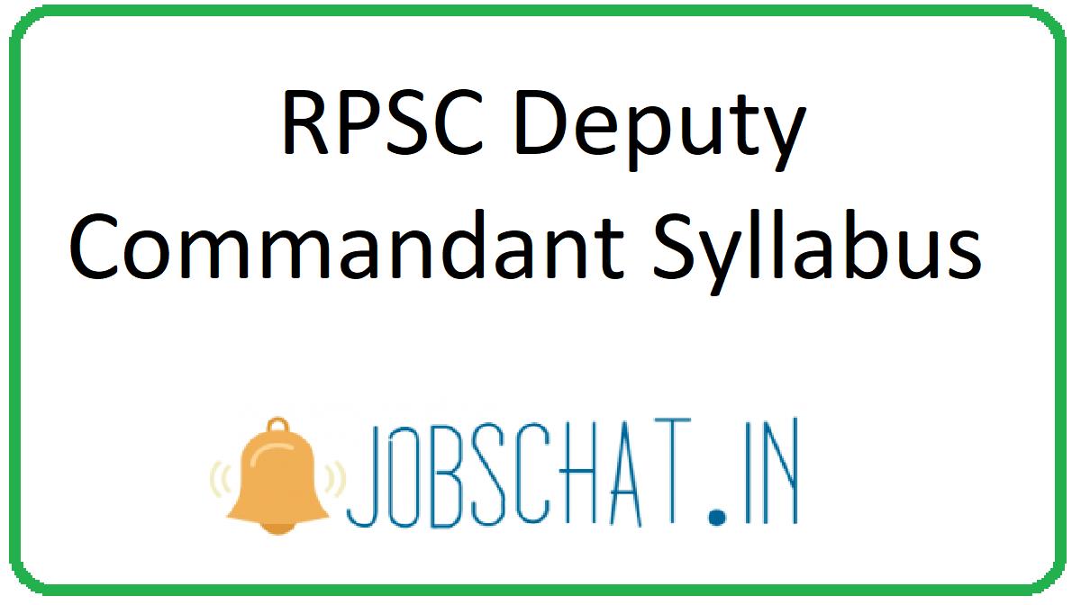 RPSC Deputy Commandant Syllabus