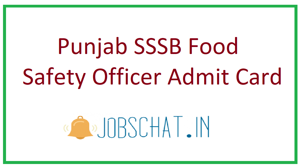 Punjab SSSB Food Safety Officer Admit Card