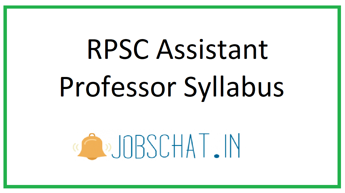 RPSC Assistant Professor Syllabus