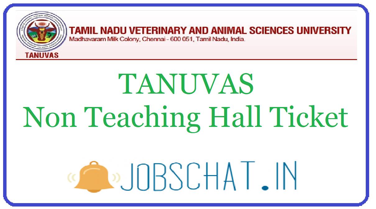 TANUVAS Non Teaching Hall Ticket