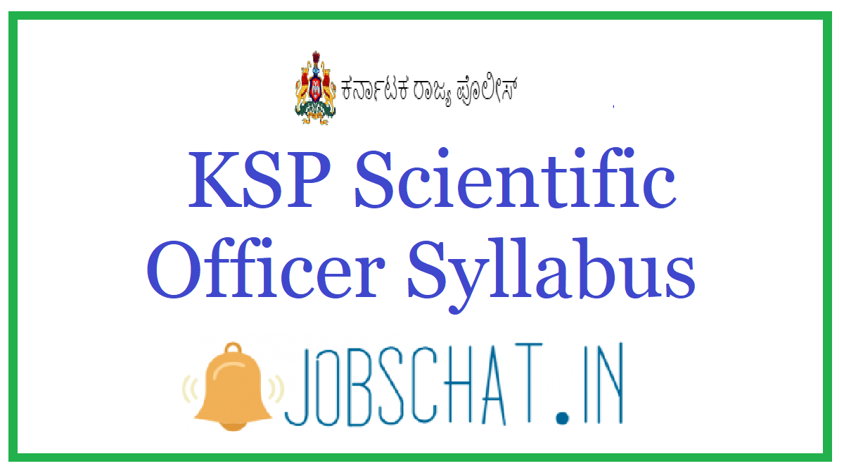 KSP Scientific Officer Syllabus