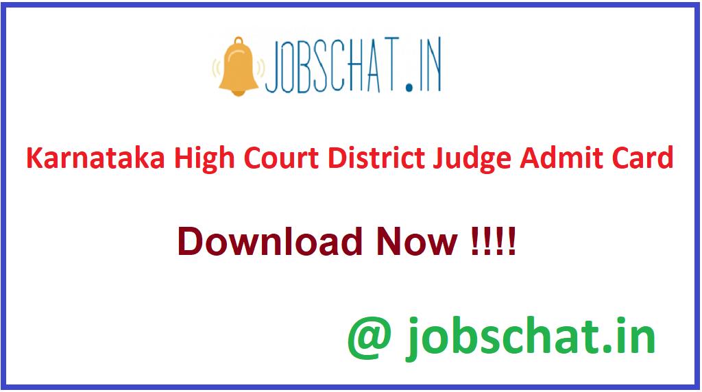 Karnataka High Court District Judge Admit Card