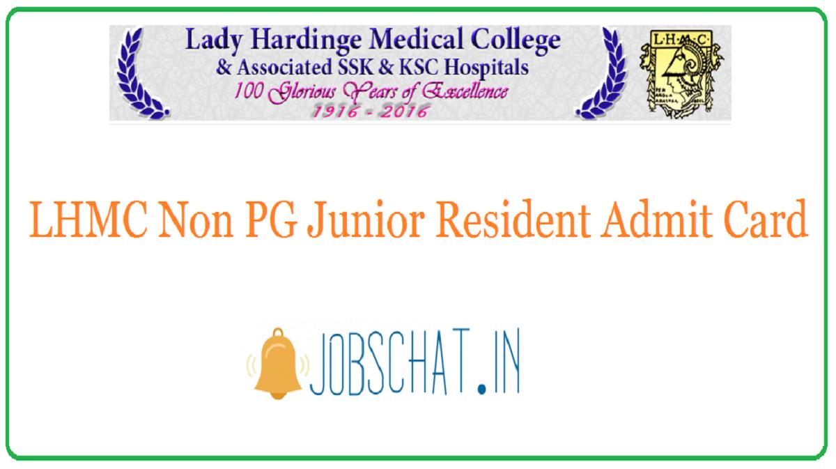 LHMC Non PG Junior Resident Admit Card