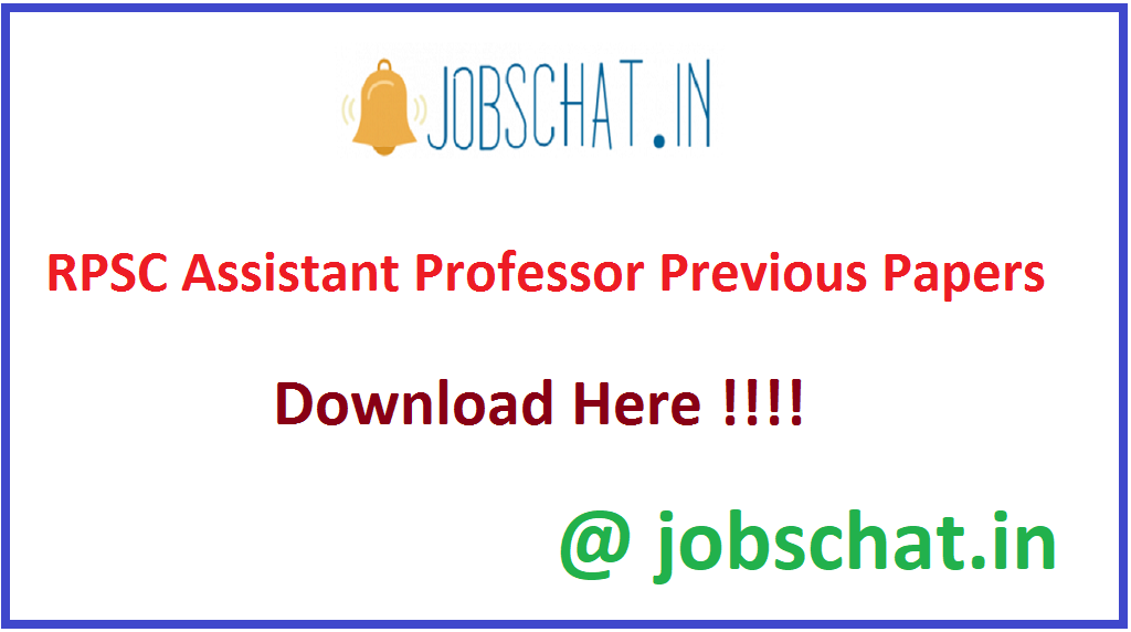 RPSC Assistant Professor Previous Papers