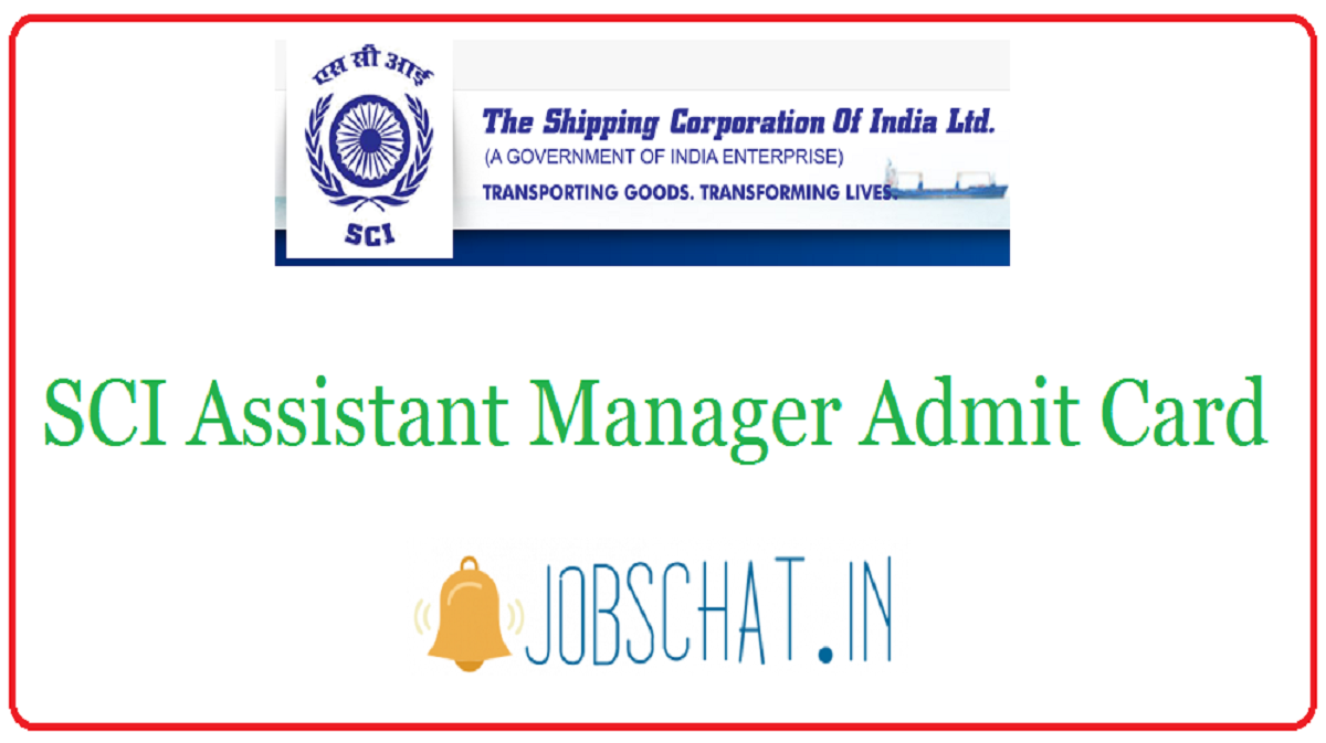 SCI Assistant Manager Admit Card