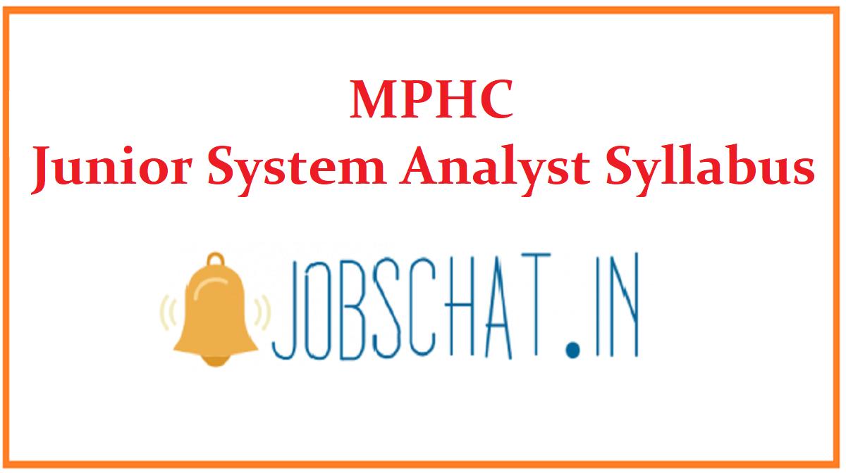 MPHC Junior System Analyst Syllabus