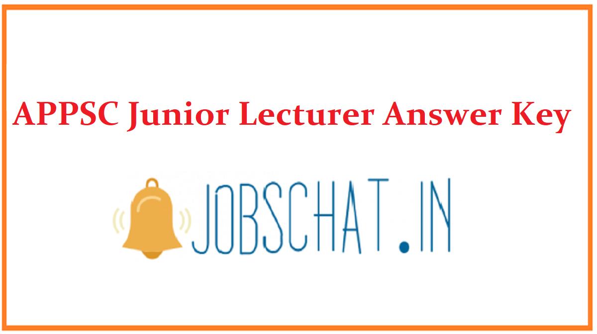 APPSC Junior Lecturer Answer Key