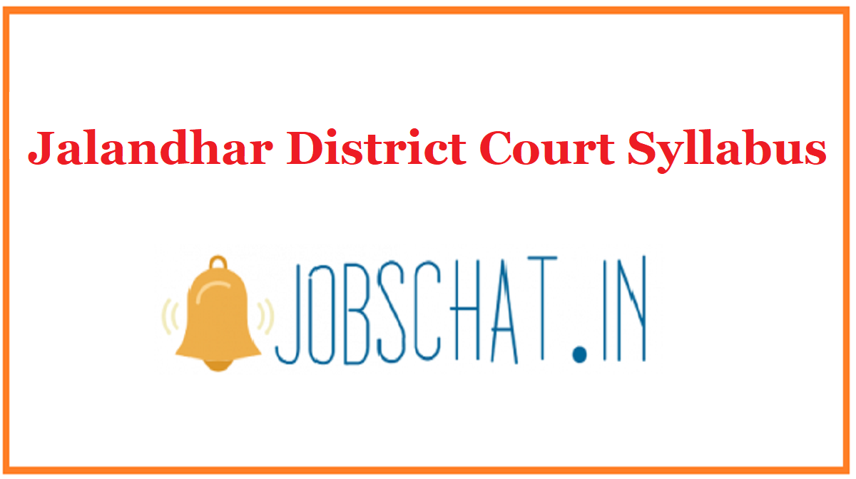 Jalandhar District Court Syllabus