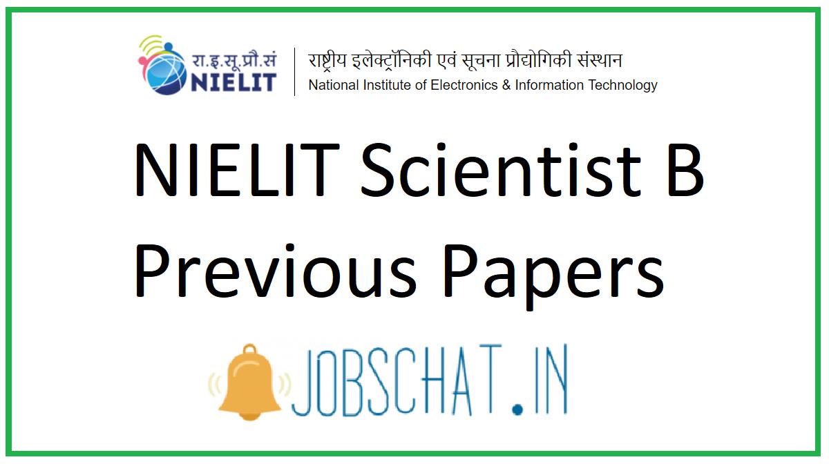 NIELIT Scientist B Previous Papers