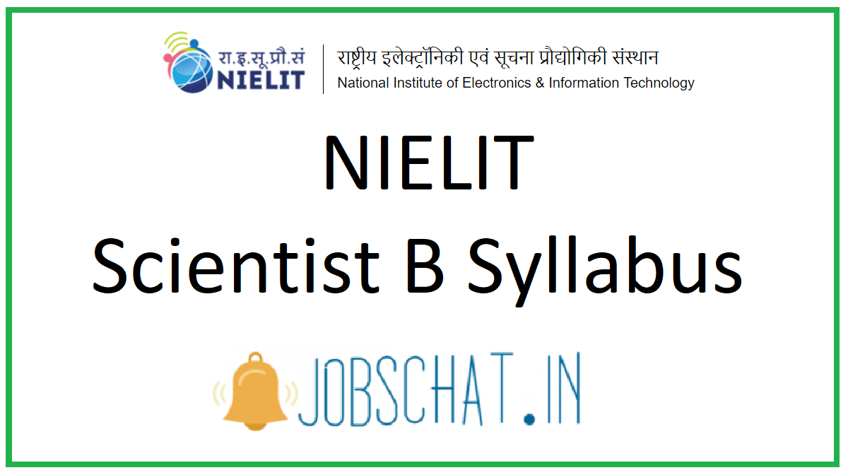 NIELIT Scientist B Syllabus