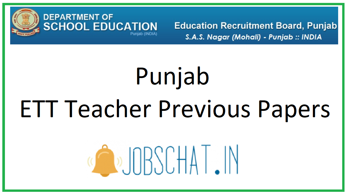 Punjab ETT Teacher Previous Papers