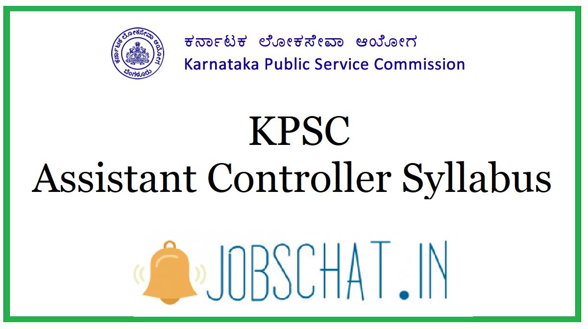 KPSC Assistant Controller Syllabus