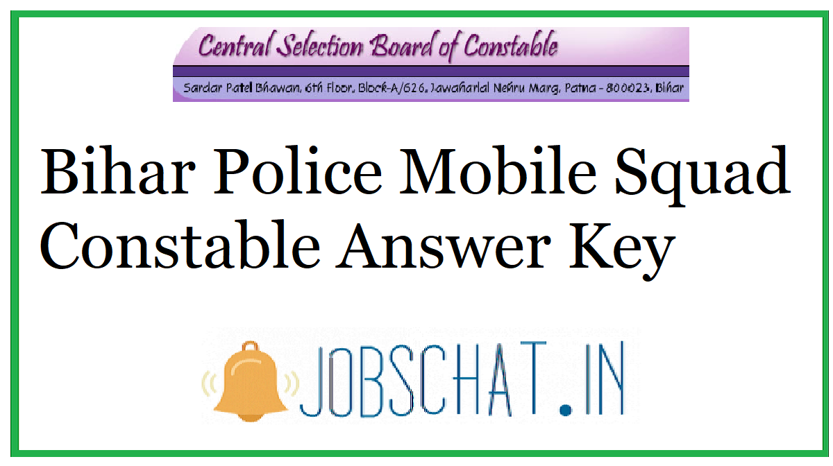 Bihar Police Mobile Squad Constable Answer Key