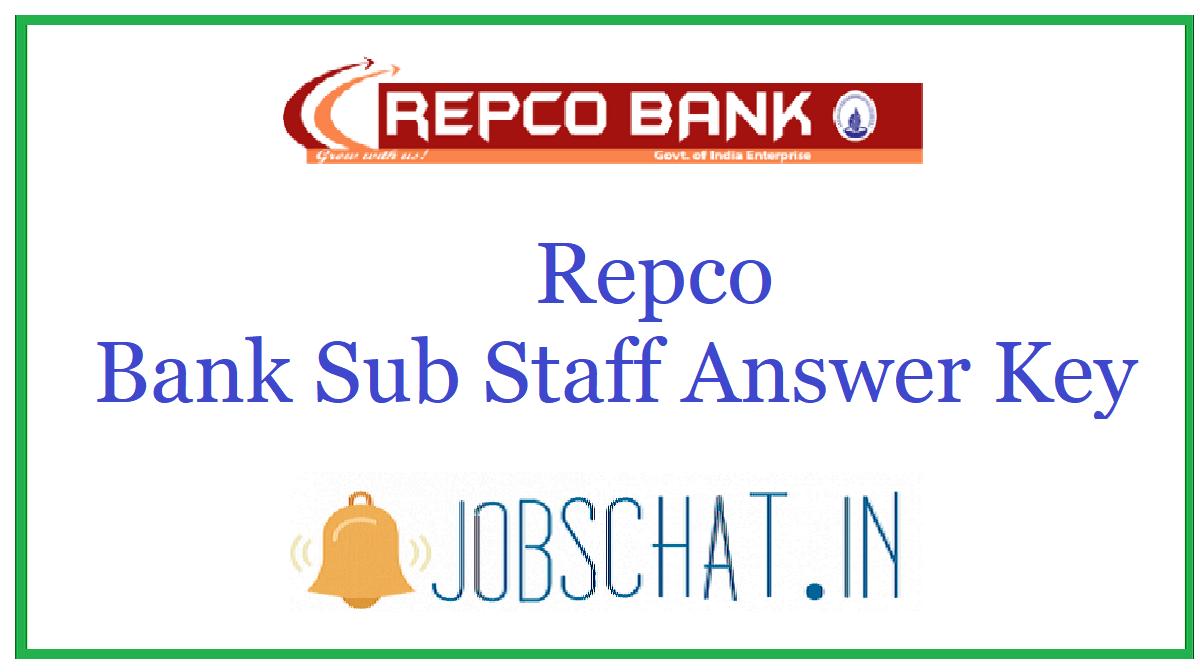 Repco Bank Sub Staff Answer Key