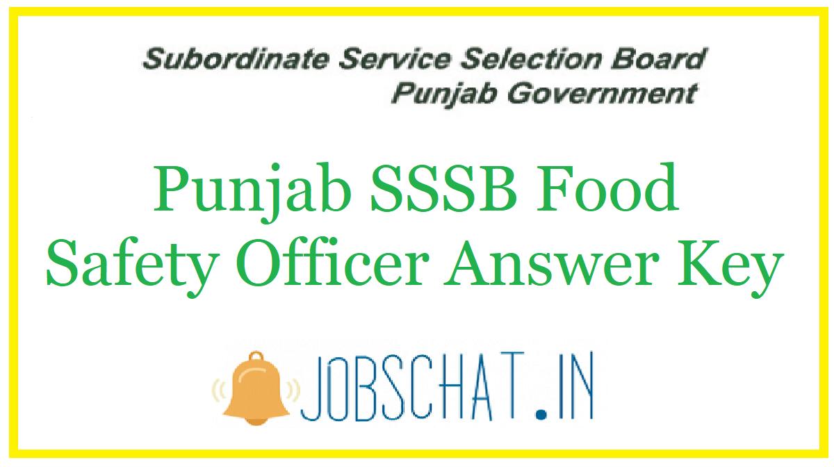 Punjab SSSB Food Safety Officer Answer Key 2020 | Cut Off ...