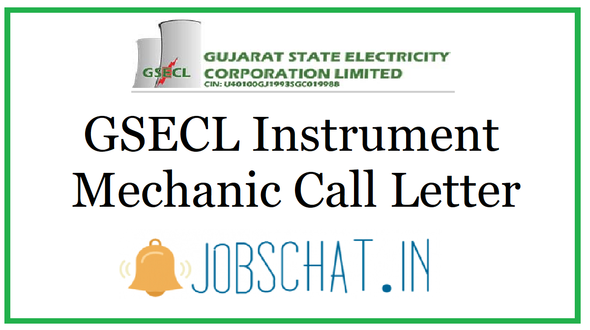 GSECL Instrument Mechanic Call Letter