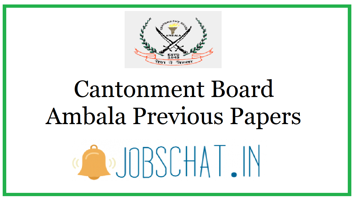 Cantonment Board Ambala Previous Papers