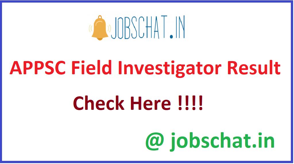 APPSC Field Investigator Result