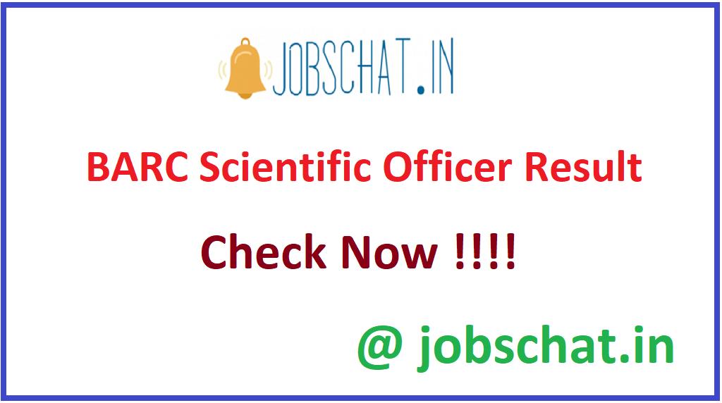 BARC Scientific Officer Result