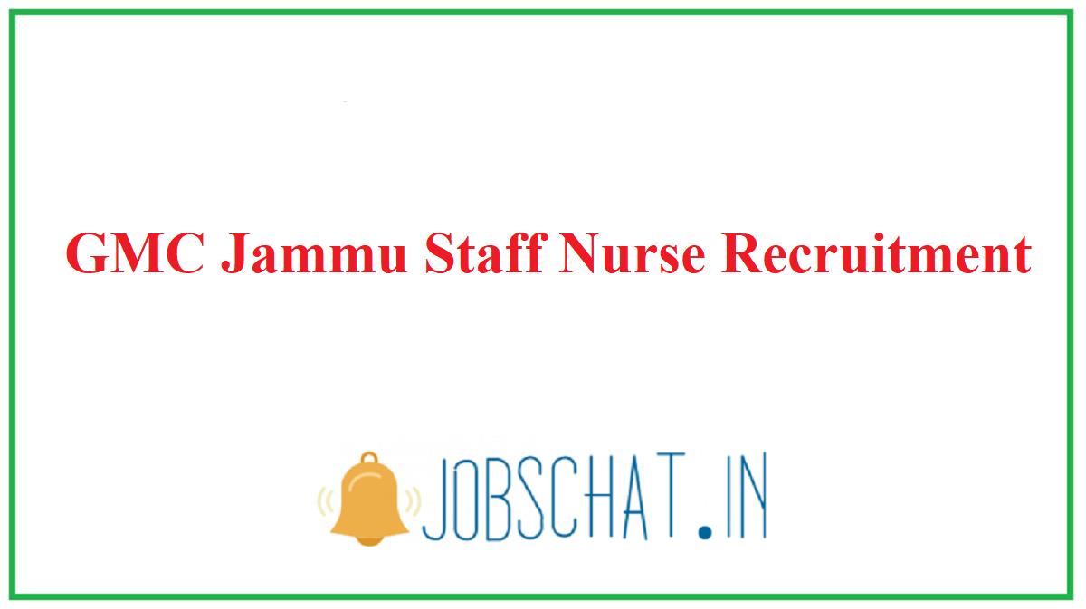 GMC Jammu Staff Nurse Recruitment