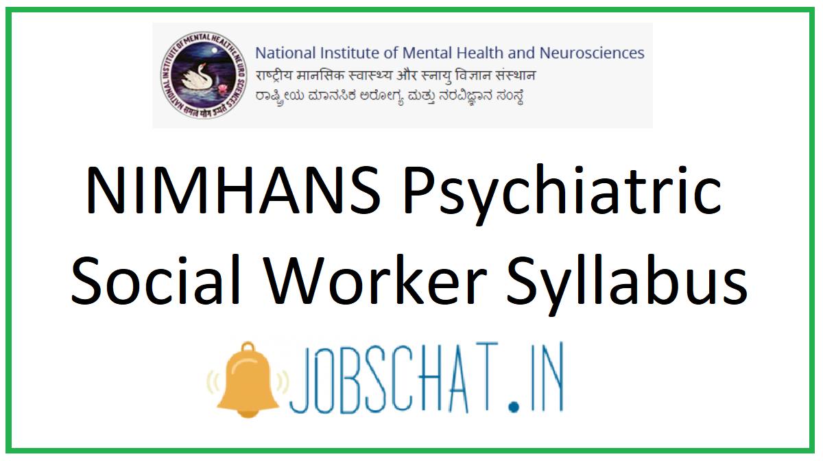 NIMHANS Psychiatric Social Worker Syllabus