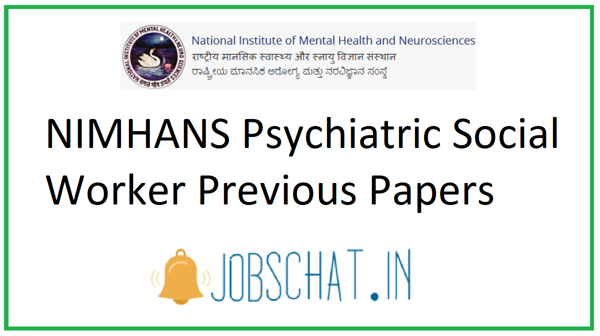 NIMHANS Psychiatric Social Worker Previous Papers