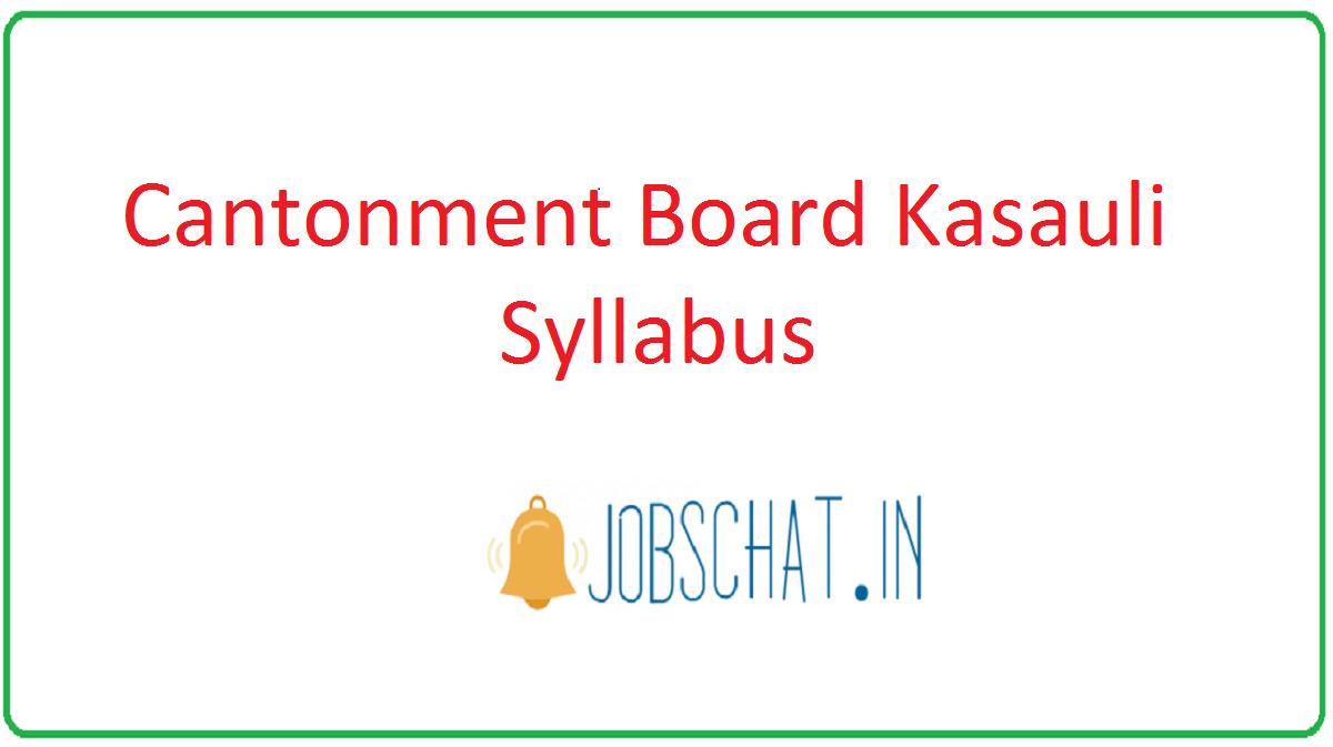 Cantonment Board Kasauli Syllabus