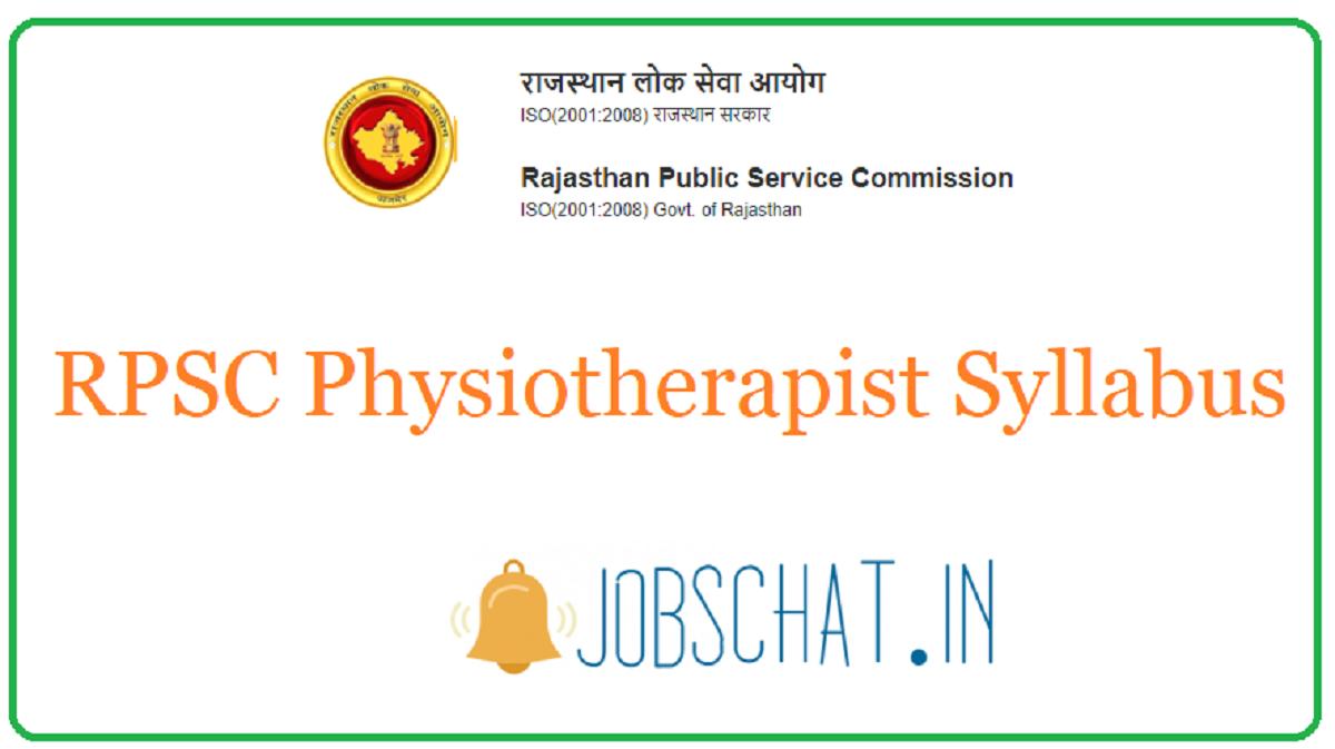 RPSC Physiotherapist Syllabus