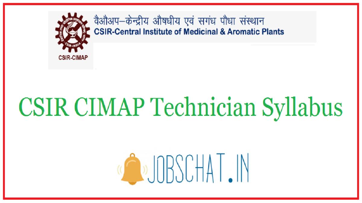 CSIR CIMAP Technician Syllabus