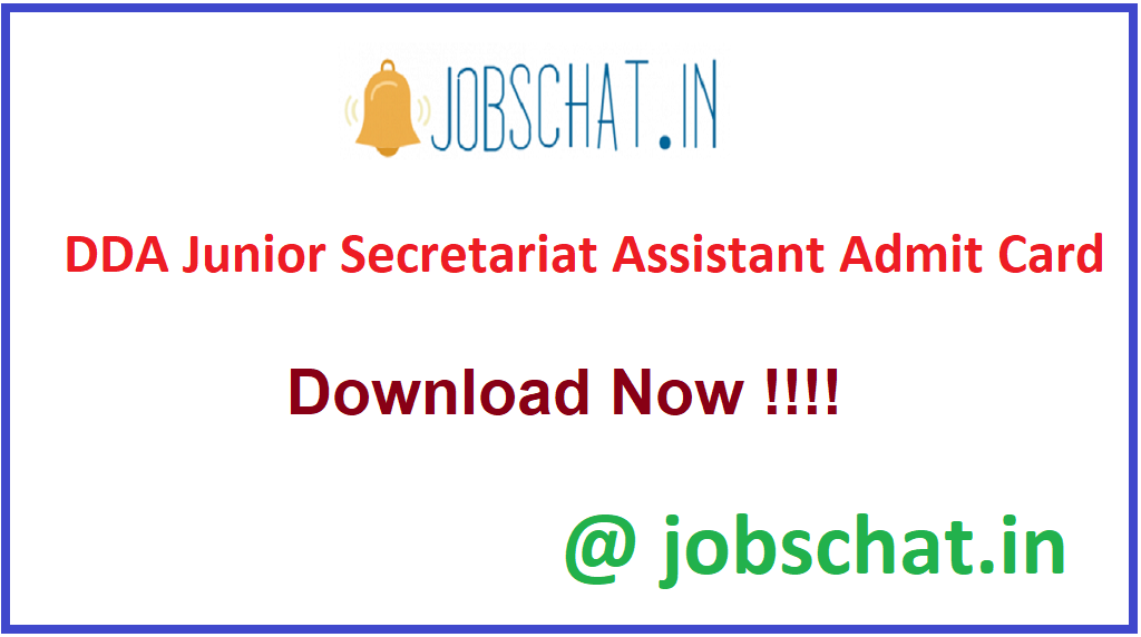 DDA Junior Secretariat Assistant Admit Card