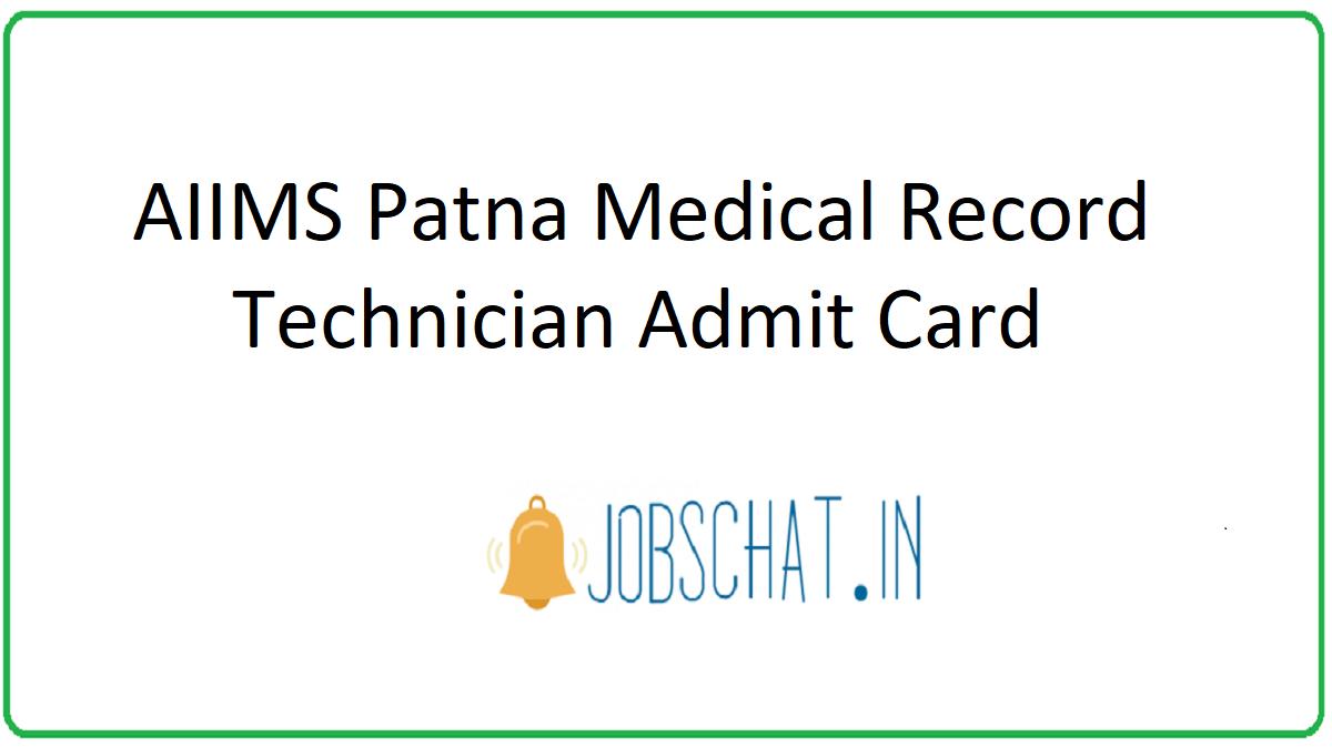 AIIMS Patna Medical Record Technician Admit Card