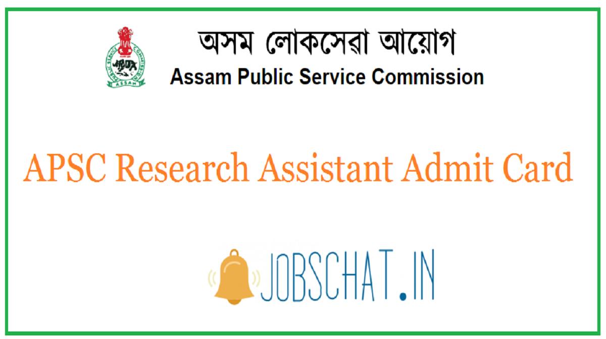 APSC Research Assistant Admit Card