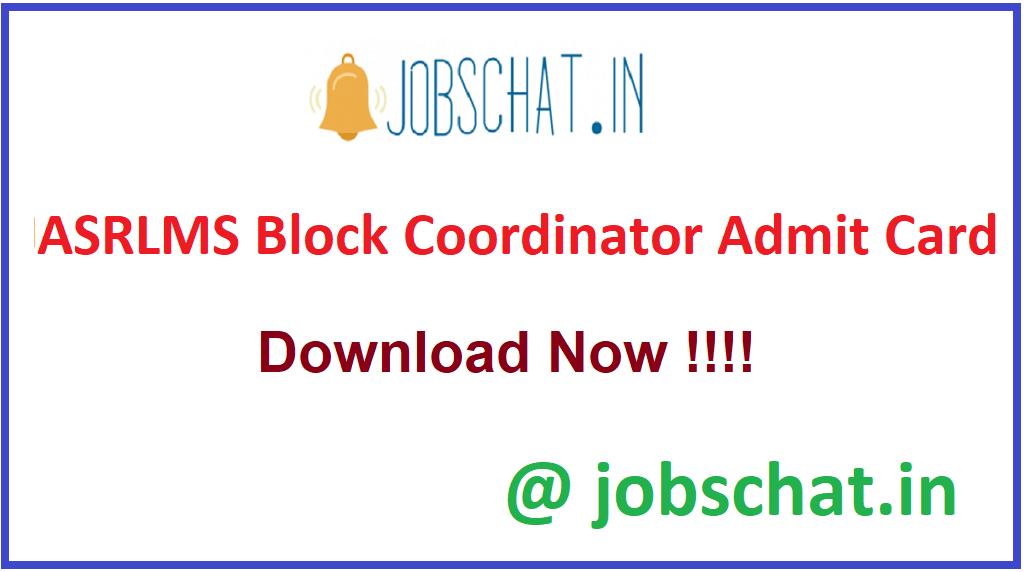ASRLMS Block Coordinator Admit Card