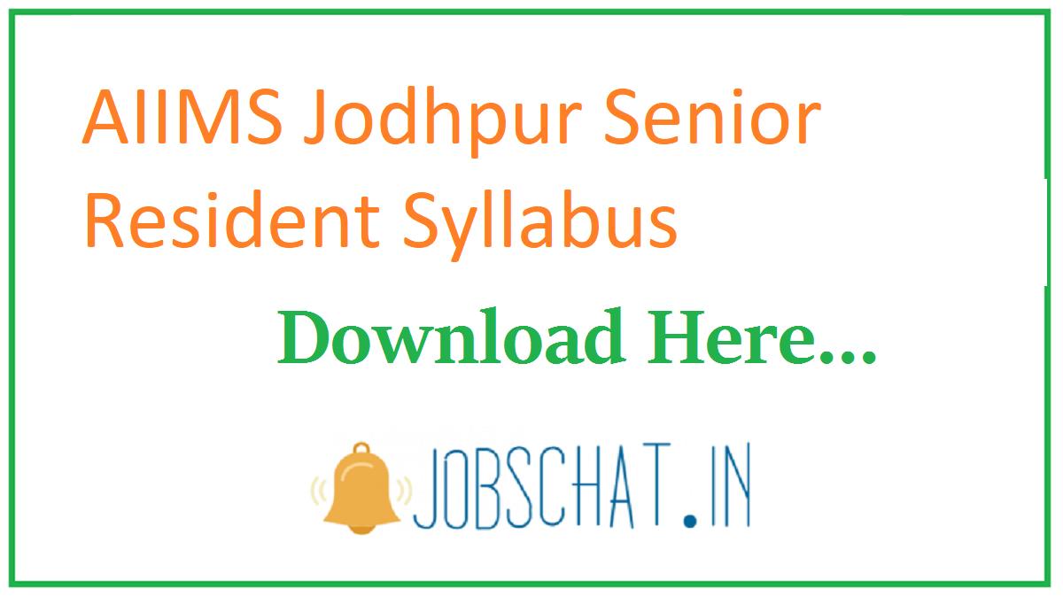 AIIMS Jodhpur Senior Resident Syllabus
