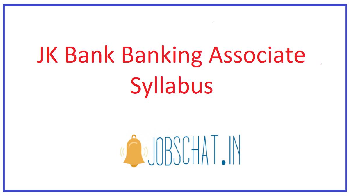 JK Bank Banking Associate Syllabus