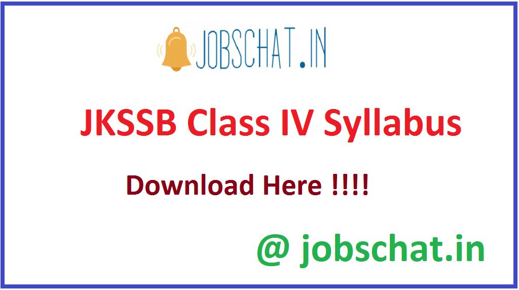 JKSSB Class IV Syllabus