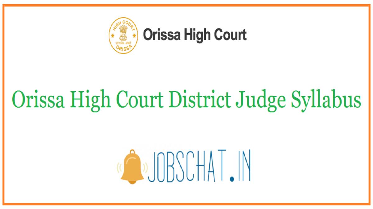 Orissa High Court District Judge Syllabus