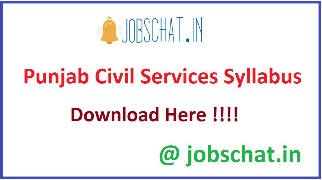 Punjab Civil Services Syllabus