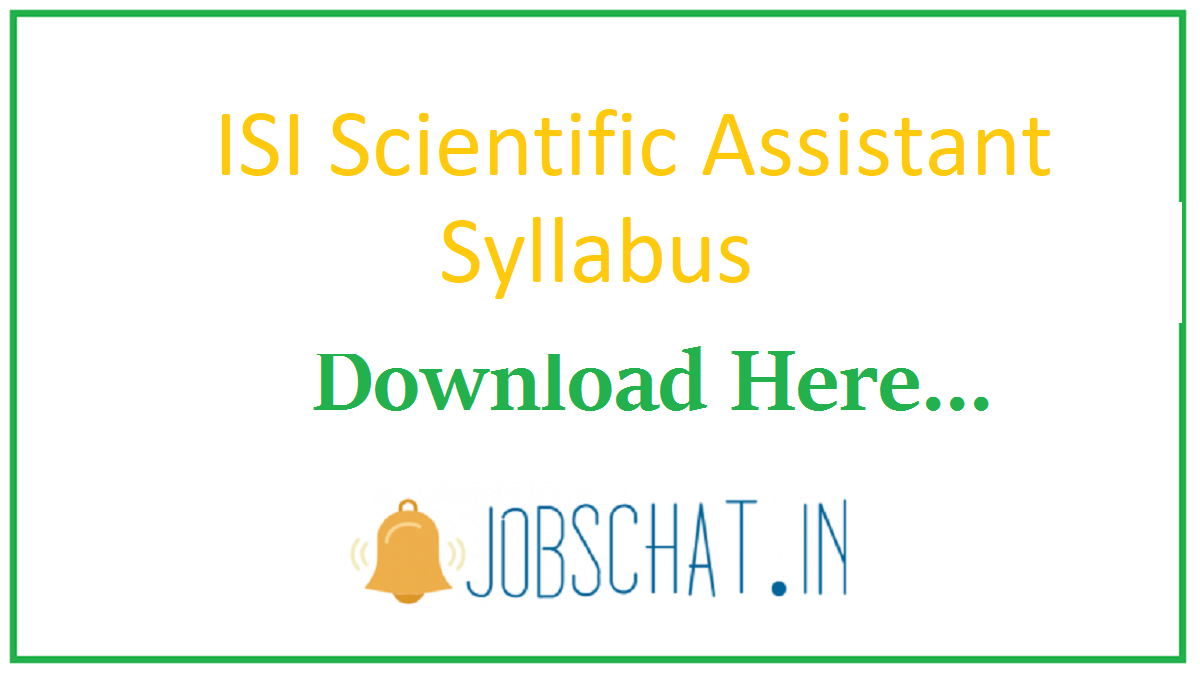 ISI Scientific Assistant Syllabus