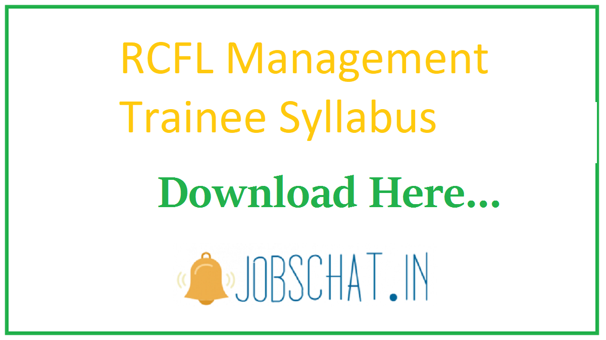 RCFL Management Trainee Syllabus