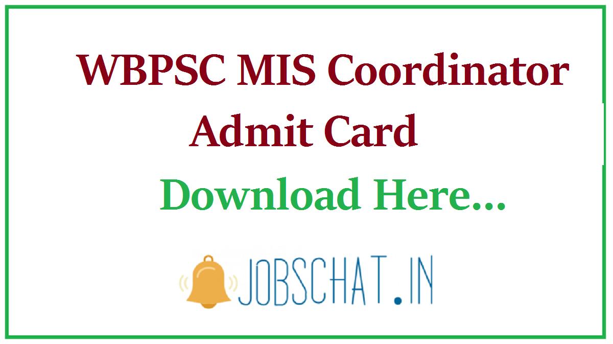 WBPSC MIS Coordinator Admit Card