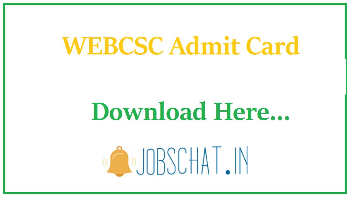 WEBCSC Admit Card