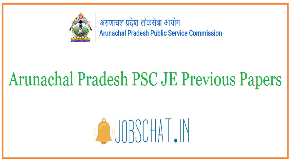 Arunachal Pradesh PSC JE Previous Papers
