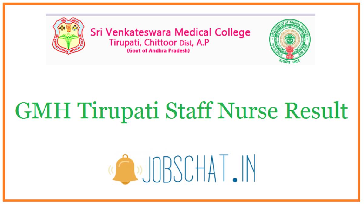 GMH Tirupati Staff Nurse Result