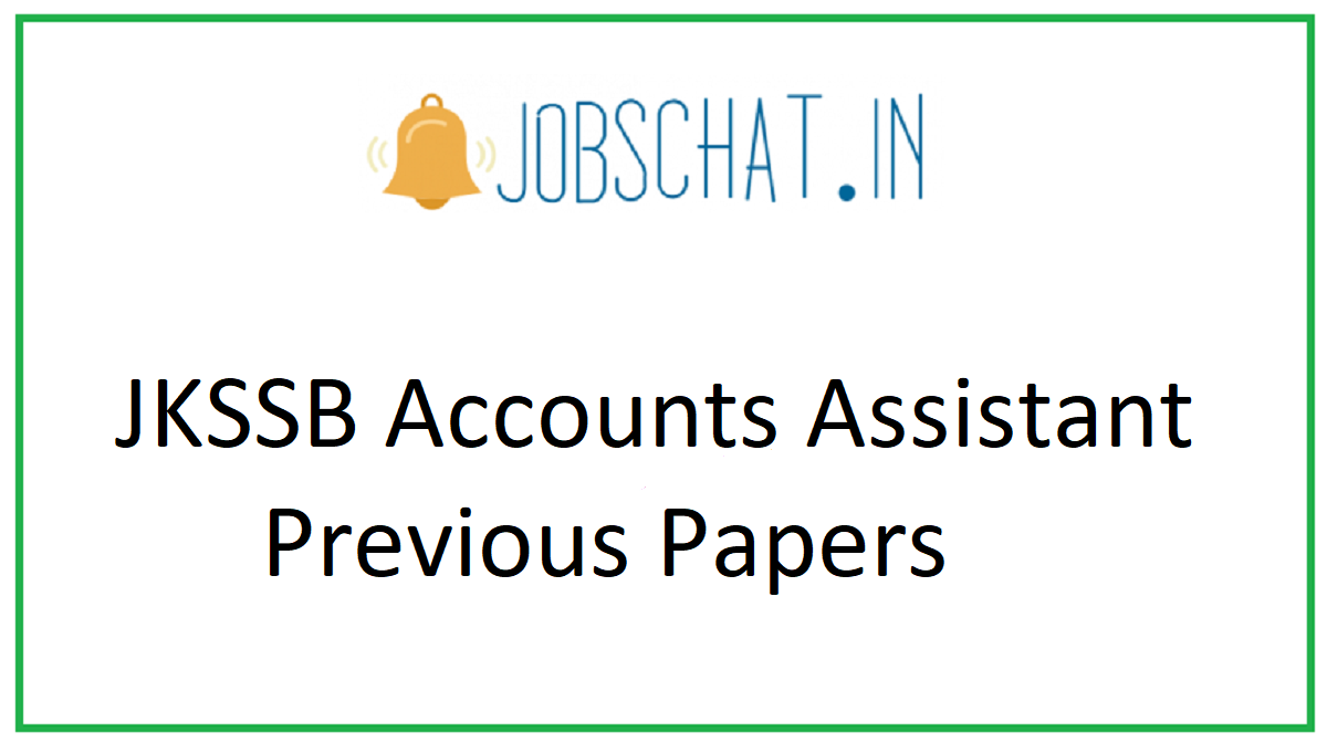 JKSSB Accounts Assistant Previous Papers