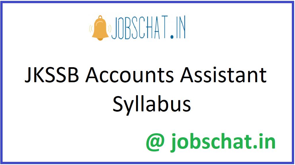 JKSSB Accounts Assistant Syllabus