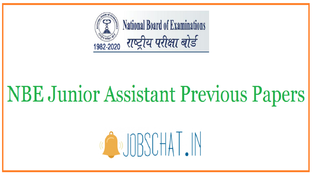 NBE Junior Assistant Previous Papers