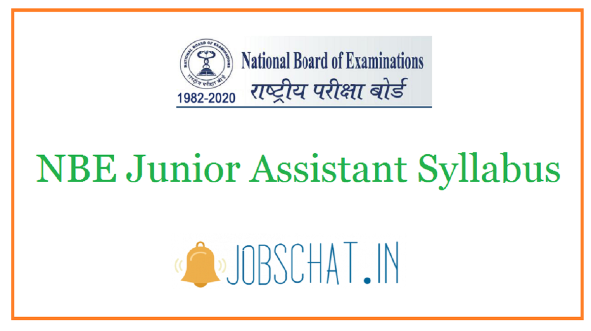 NBE Junior Assistant Syllabus