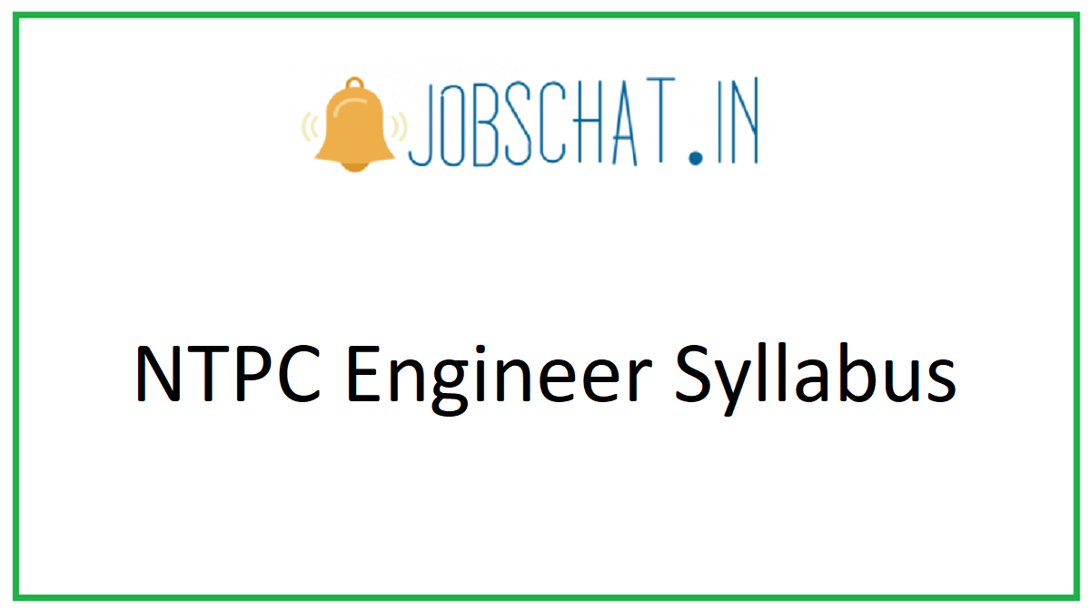 NTPC Engineer Syllabus